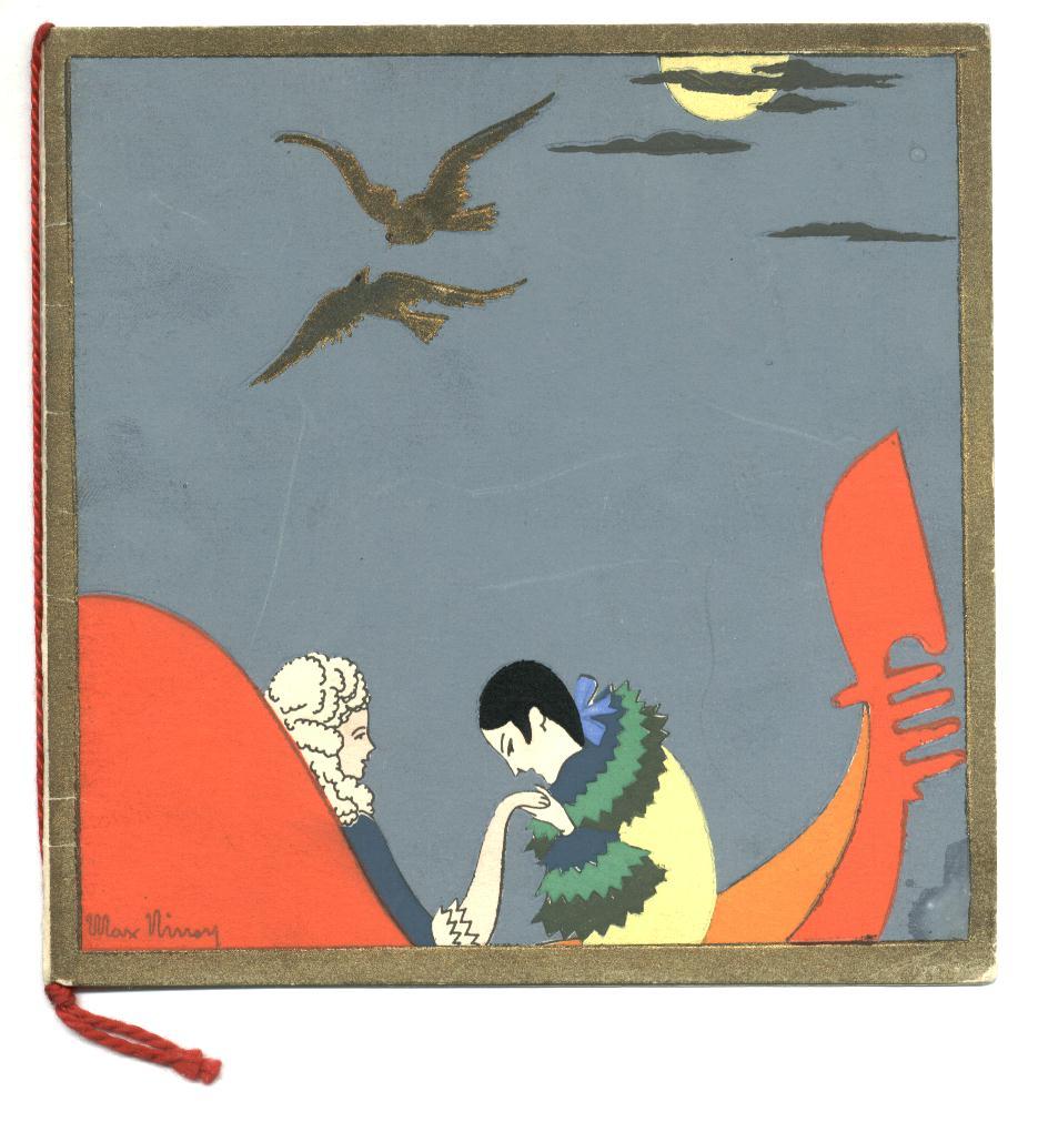 French art deco max ninon pochoir postcard rr for Pochoir deco