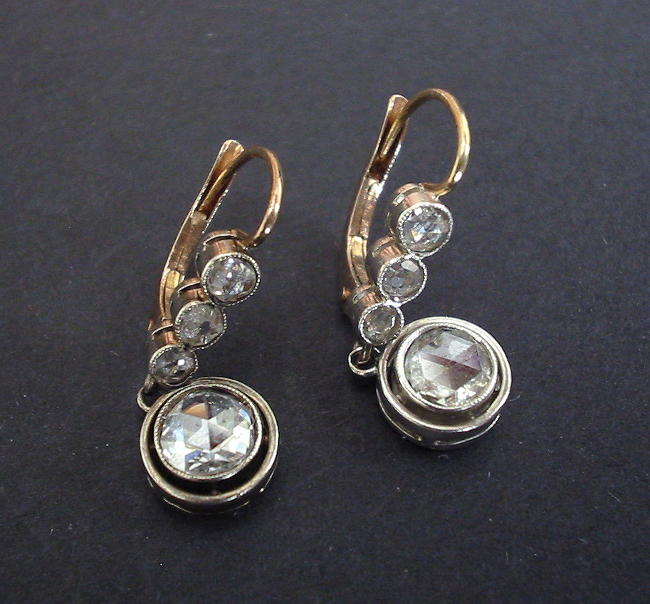 antique imperial russuan earrings 1 4 carats and gold