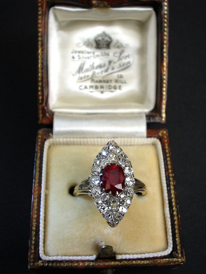 Victorian Marquise Shaped 1 5 Carats Diamond And 1 2 Carat
